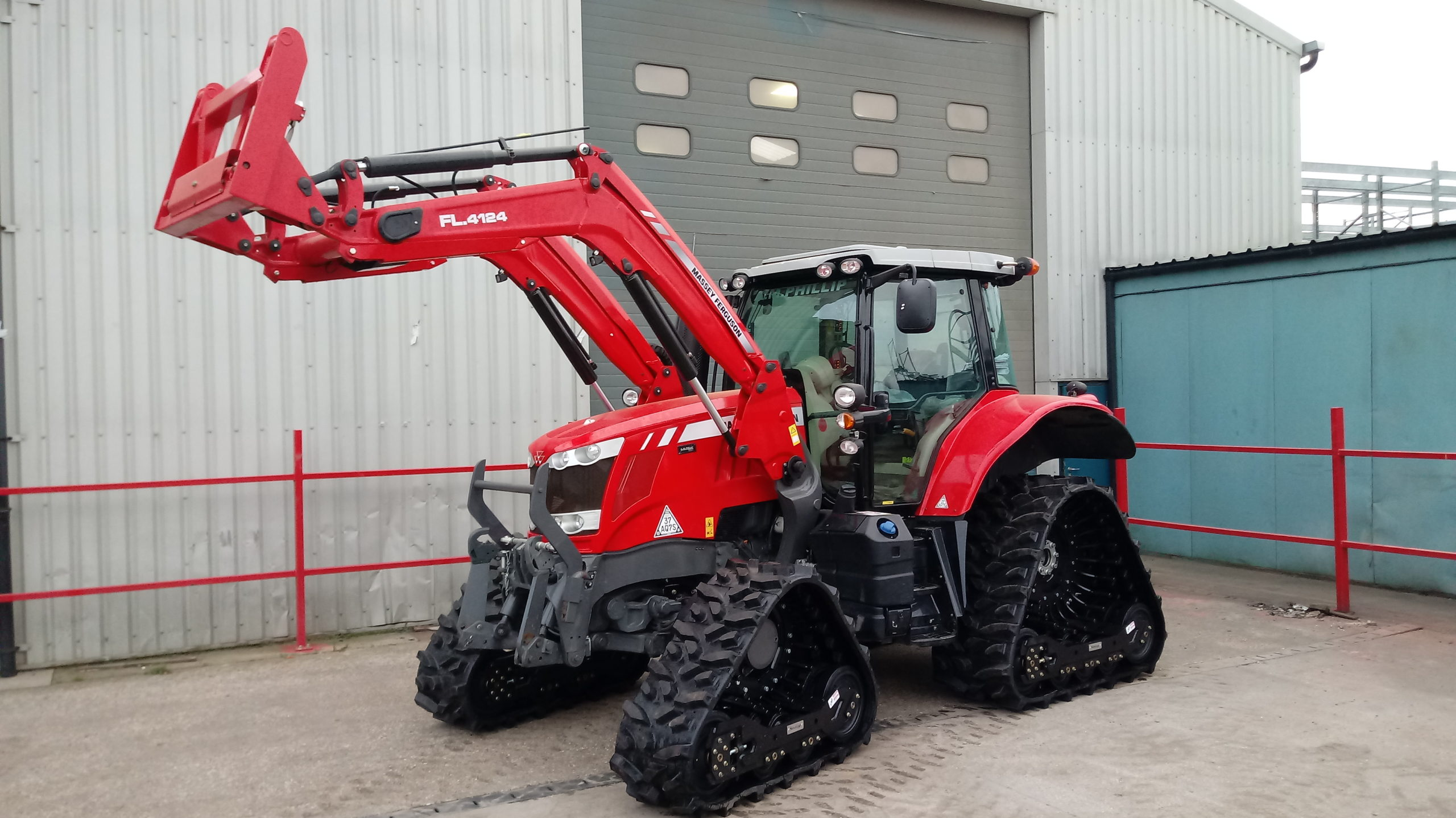 Soucy ST 600 tracks fitted to MF 6718S working in Scotland